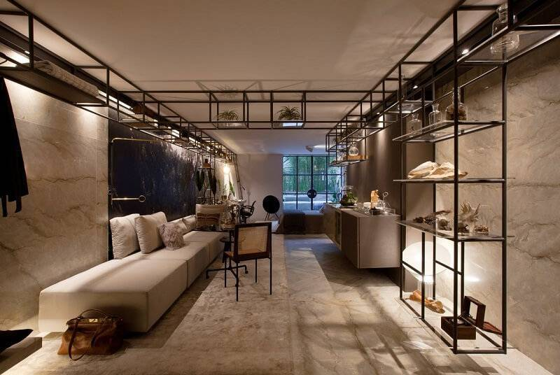 estante metal e vidro sala de estar sandra moura 143926