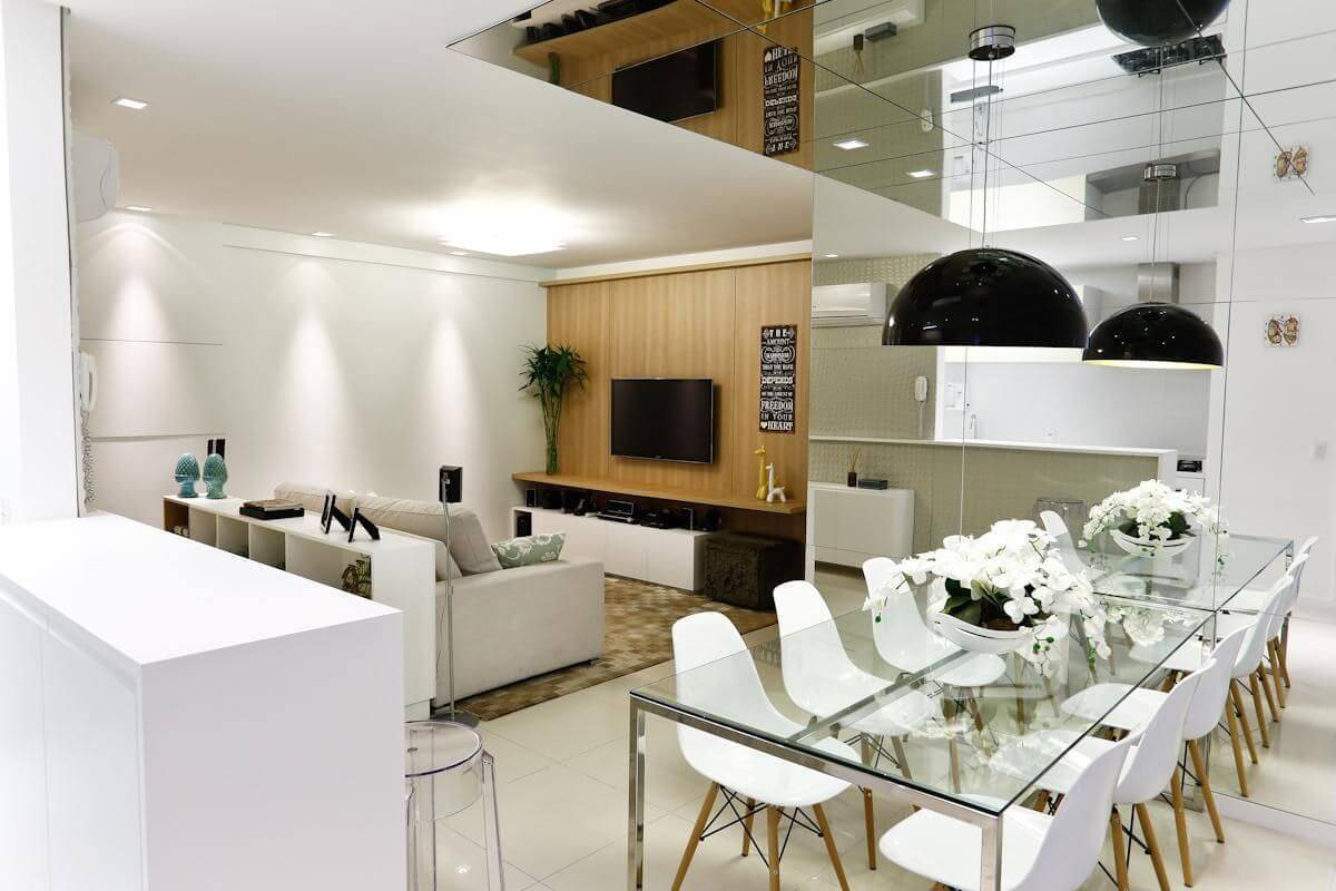 luminarias sala de estar e sala de jantar integradas cristina rei 14035