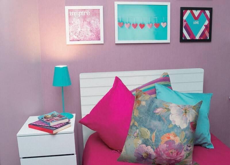 papel de parede infantil liso quarto de menina azul e rosa