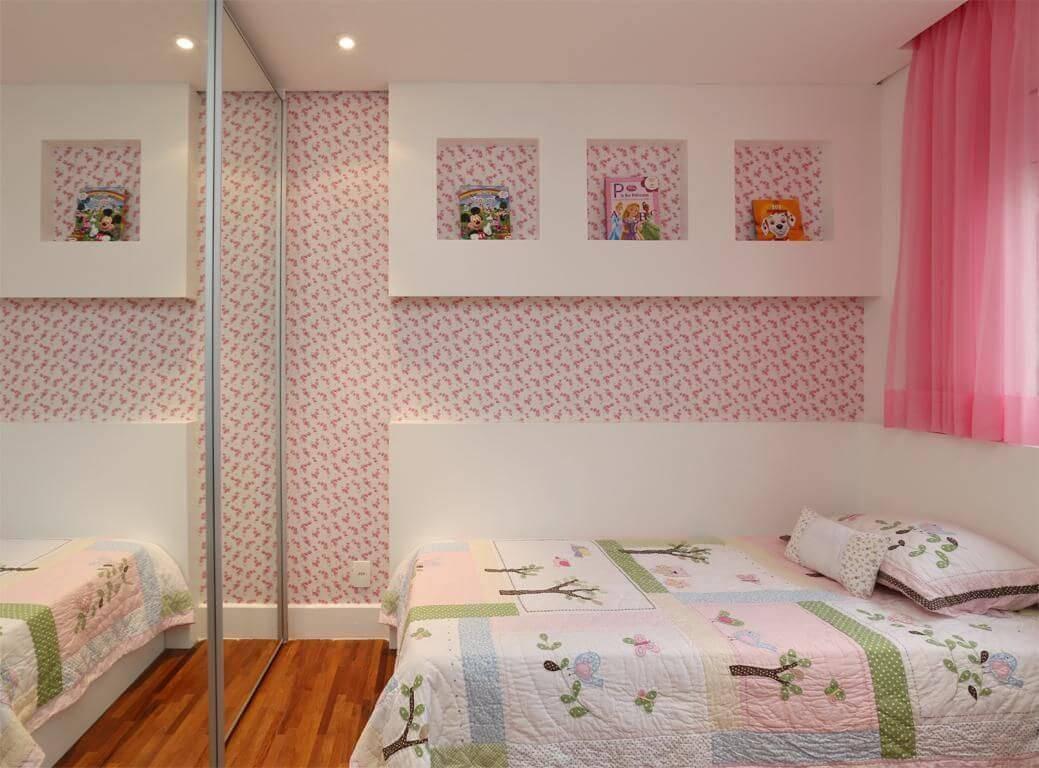 papel de parede infantil quarto de menina flores e nichos betania pacheco 125357