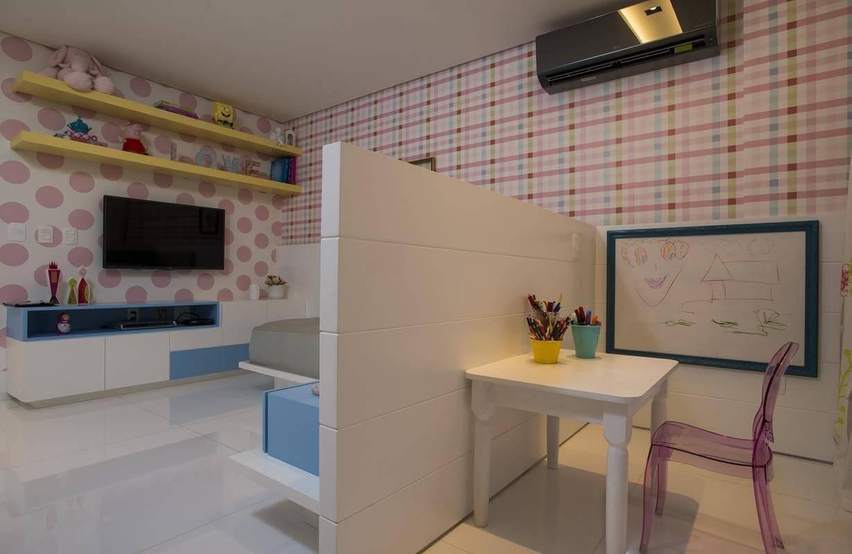 papel de parede infantil quarto de menina xadrez rodrigomaia 62153
