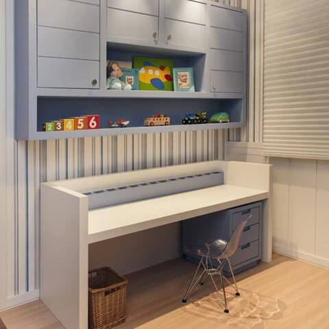 papel de parede infantil quarto de menino azul listrado meyer cortez 84032