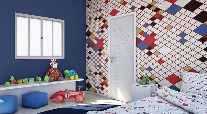 papel de parede infantil quarto de menino quadriculado