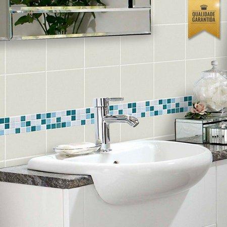 Pastilhas adesivas para banheiro na cor azul