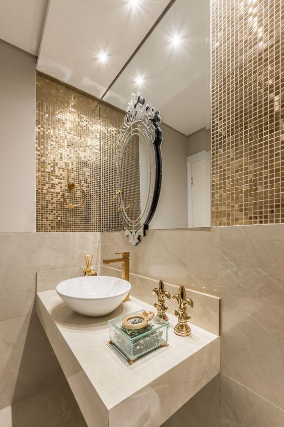 pastilhas adesivas douradas para banheiro