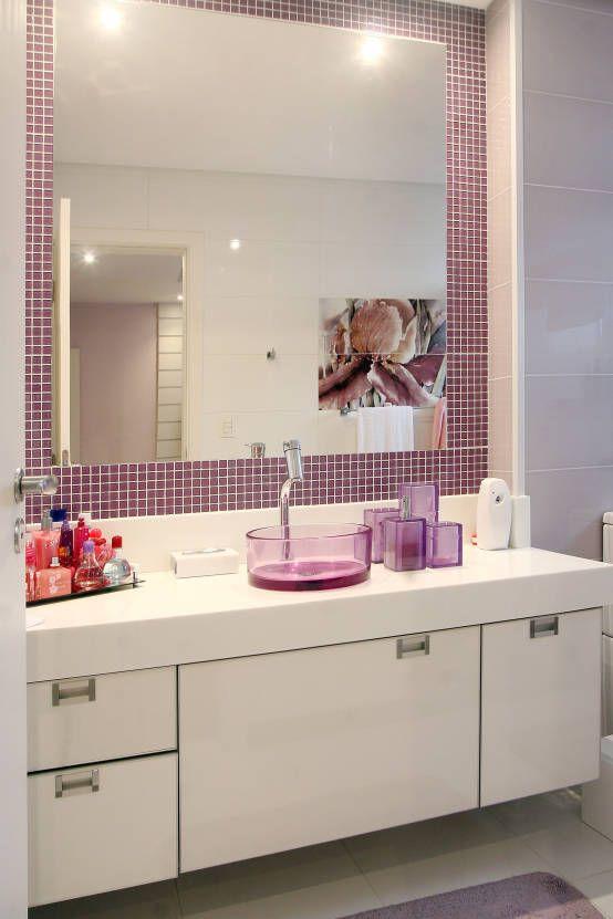 Pastilhas adesivas para banheiro roxo