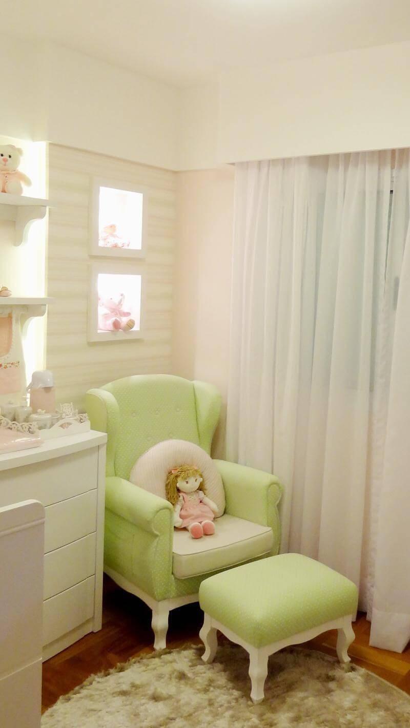 poltrona de amamentação verde quarto de menina square arquitetura 32354