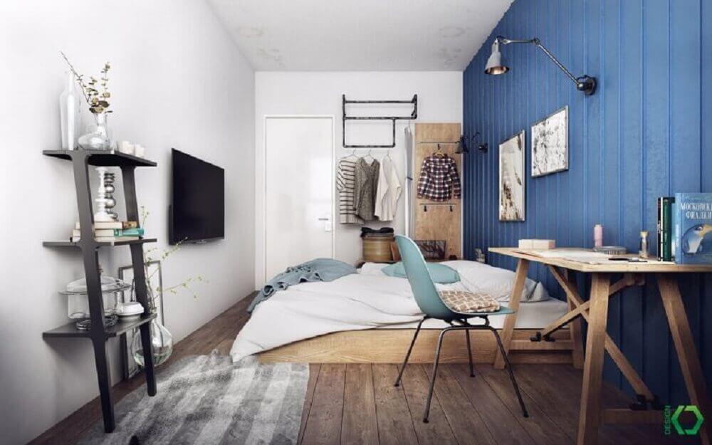 quarto com decoração escandinava e rústica