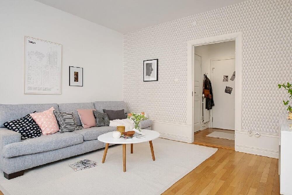 sala com decoração escandinava simples