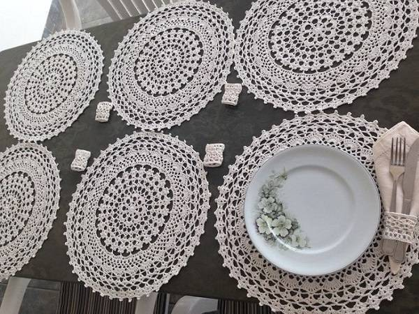 sousplat de croche branco porta guardanapo