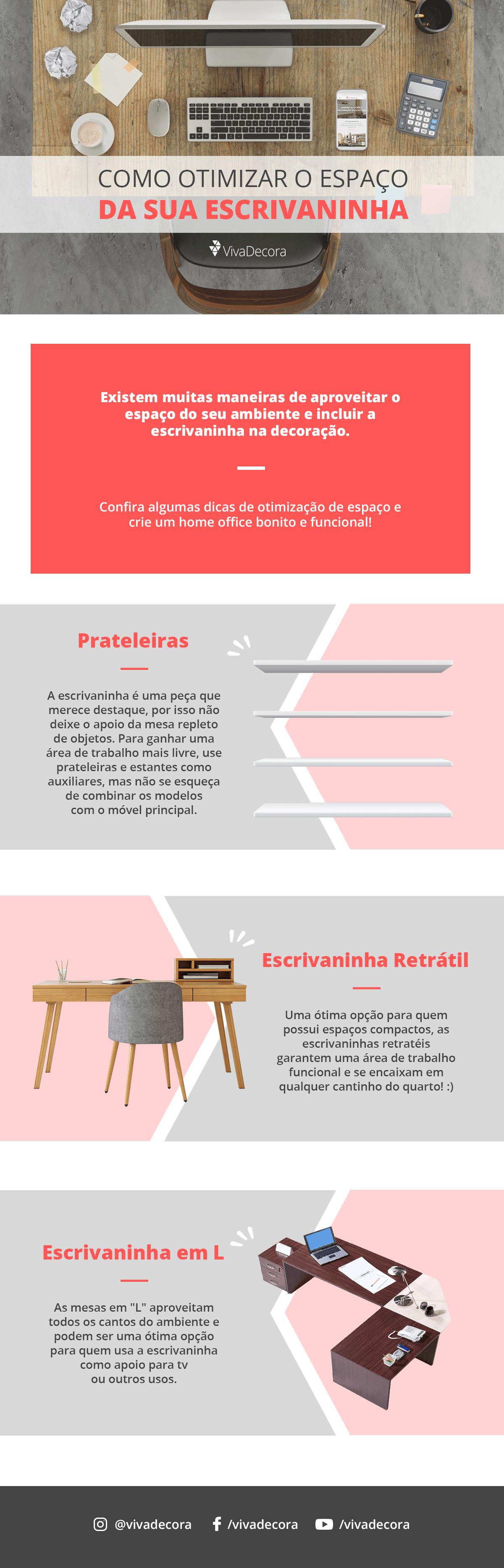 Infográfico - Como otimizar o espaço da escrivaninha