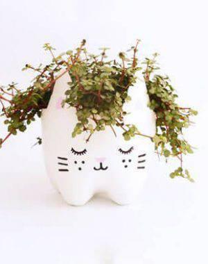 Artesanato com Garrafa Pet vaso fofo