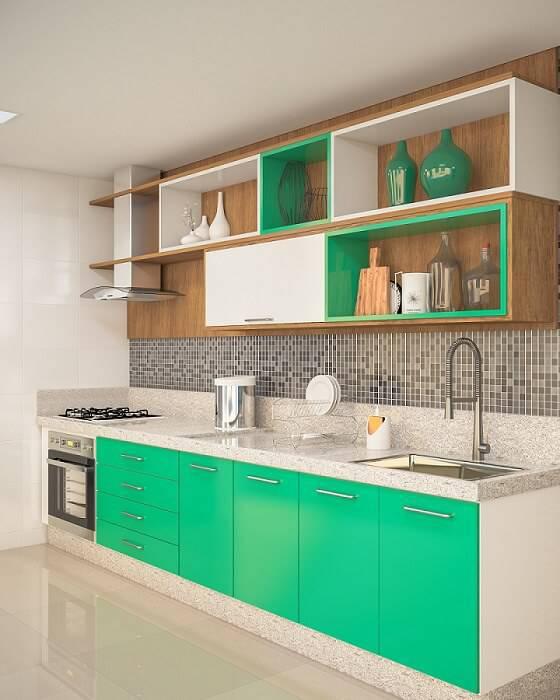 Cozinhas Planejadas para Apartamentos Pequenos com verde leroy