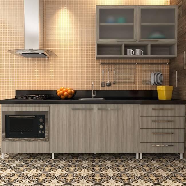 Cozinhas Planejadas para Apartamentos Pequenos moduladas leroy marrom