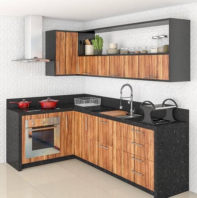 Cozinhas Planejadas para Apartamentos Pequenos preta e madeira leroy