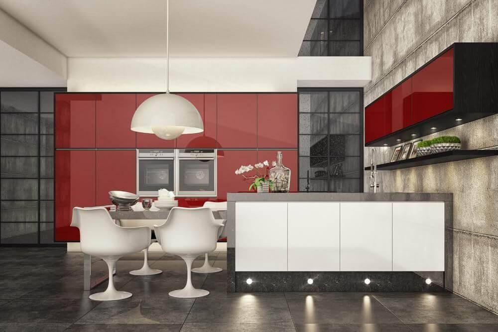 Cozinhas Planejadas para Apartamentos Pequenos vermelho e branco rosangela romao 123887