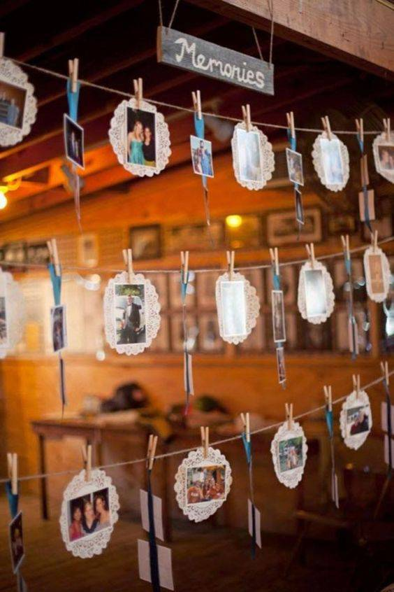 Decoração de chá de panela - Varal de memórias