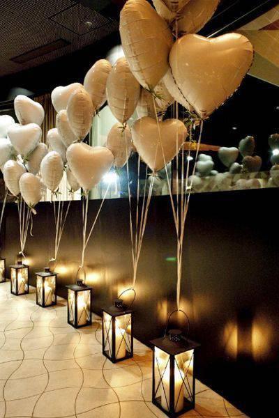 Decoração de festa de 15 anos - Balões de coração