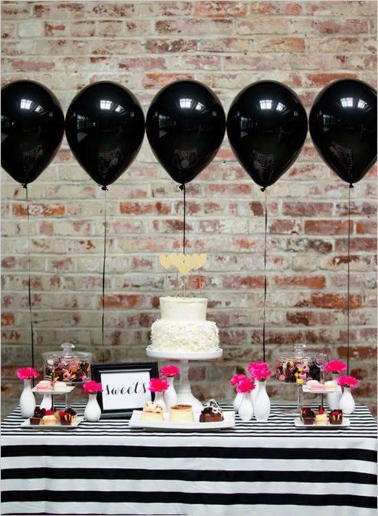 Decoração de festa de 15 anos em preto e branco