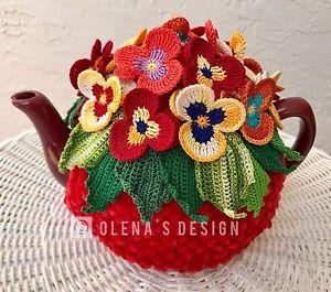 Flor de crochê em peça para chaleira