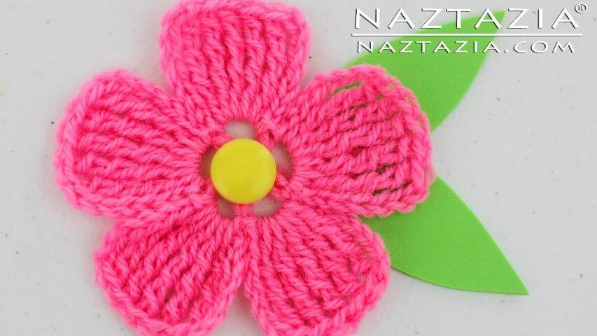 Flor de crochê rosa pink