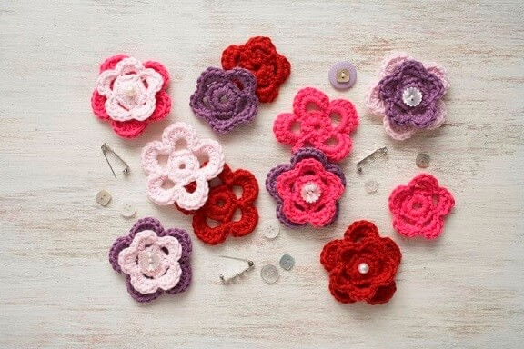 Flor de crochê variadas