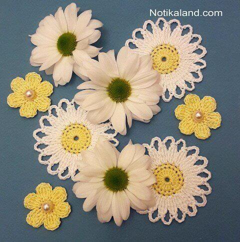 Flores de crochê de margarida