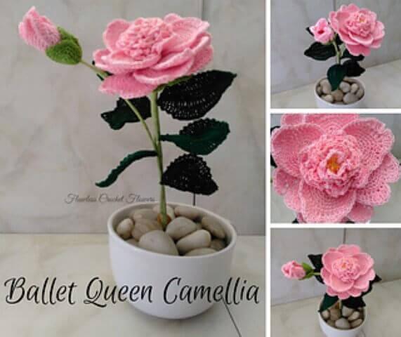 Flores de crochê em vaso