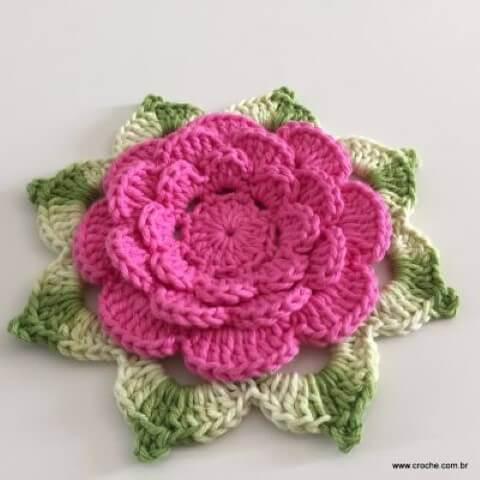 Flor de Crochê  +140 Modelos de Flores de Crochê para Colorir a Casa d3c90fa9de9