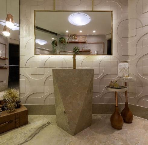 Lavabo sofisticado com cuba esculpida e paredes com revestimento 3D Projeto de Lanna Gabrielly Souza Torres