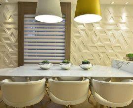 Revestimento de parede 3D geométrico na sala de jantar Projeto de Casa Cor 2016