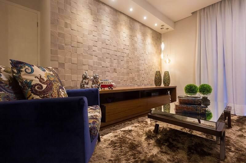 Revestimento de parede 3D na sala de estar