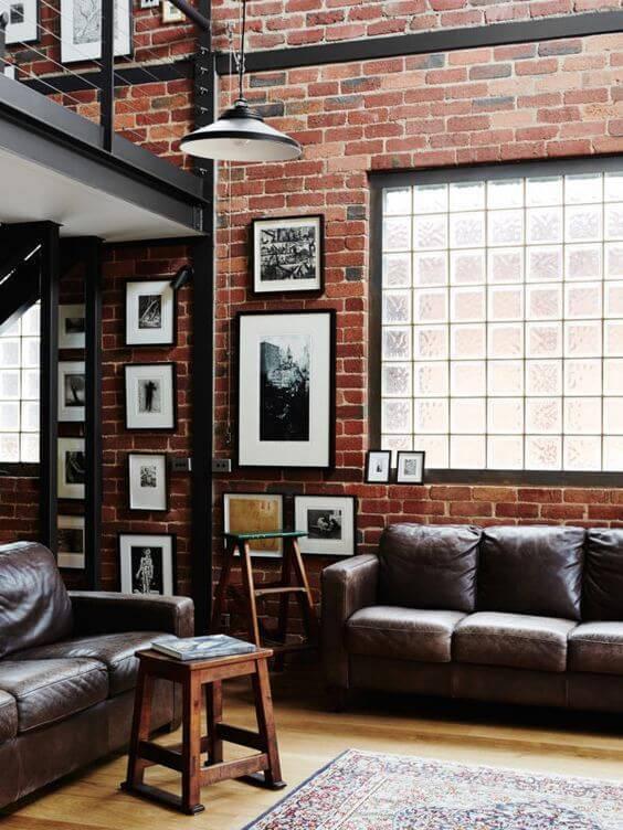 blocos de vidro sala de estar rustica retro
