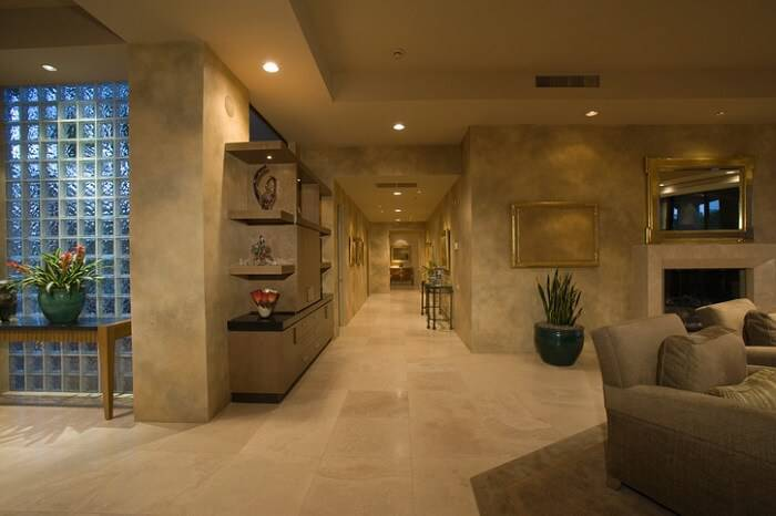 blocos de vidro sala de estar