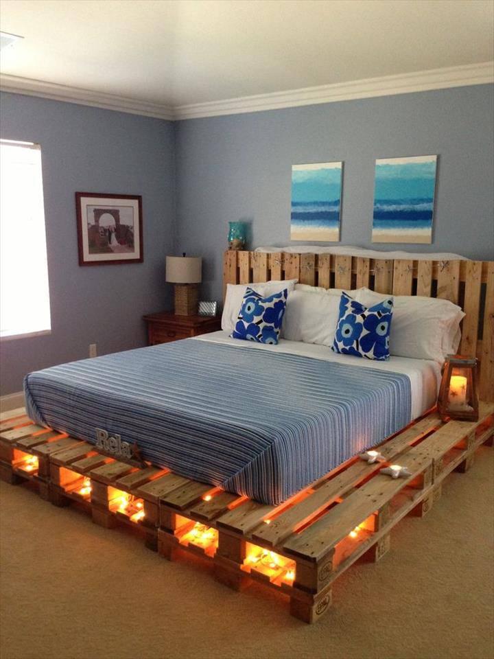 cama de casal pallet com luzes