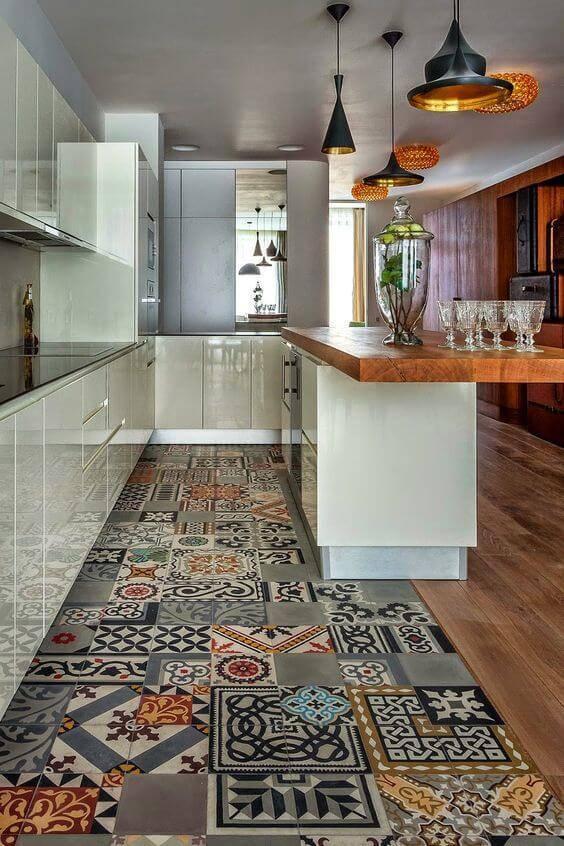 carpete de madeira corredor da cozinha