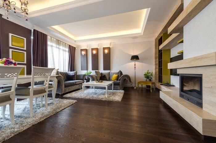 Carpete de madeira as vantagens cuidados e 50 ambientes charmosos - Indirekte deckenbeleuchtung wohnzimmer ...