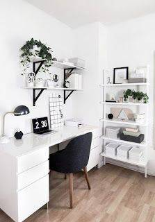 carpete de madeira home office branco