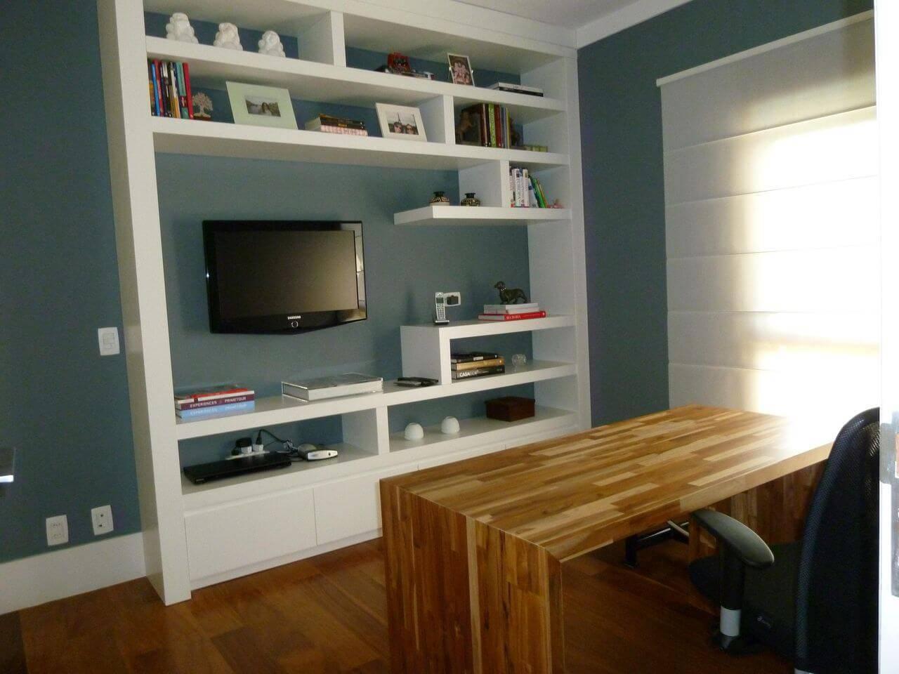 carpete de madeira home office com mesa de madeira cecilia cruz 62408