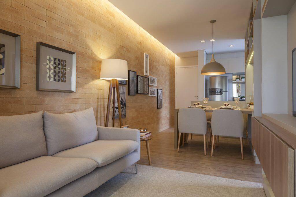 carpete de madeira sala apartamento pequeno tres arquitetura 144686