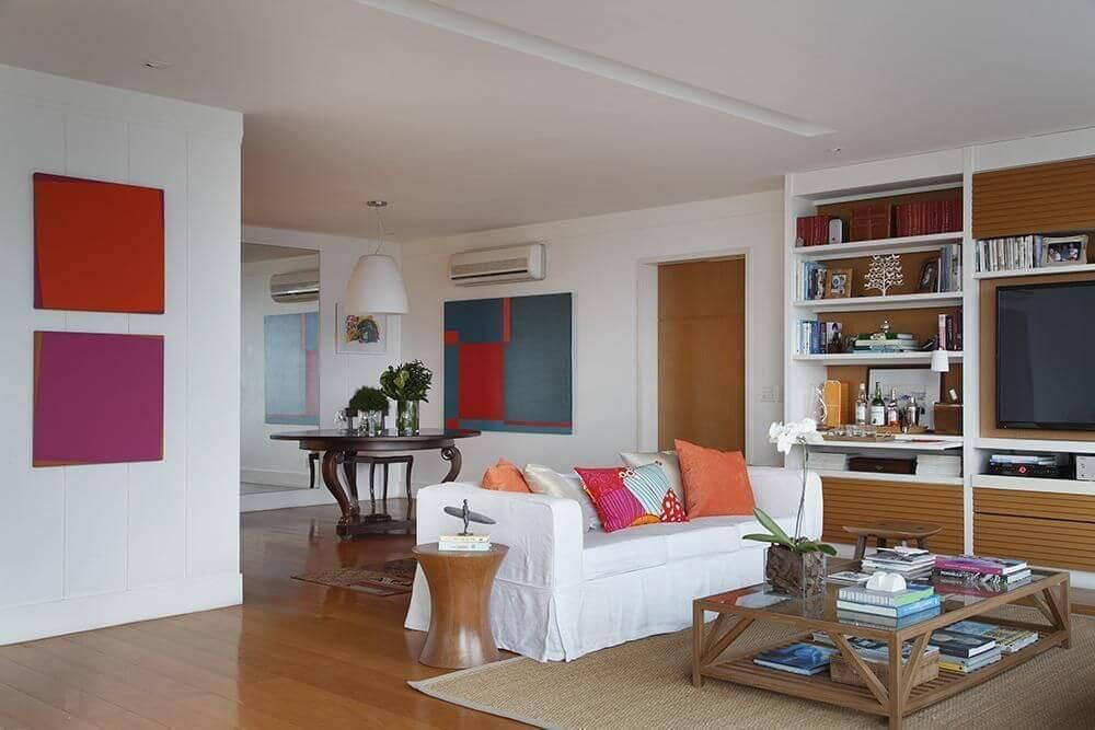 carpete de madeira sala de estar com tapete brise arquitetura e interiores 22404