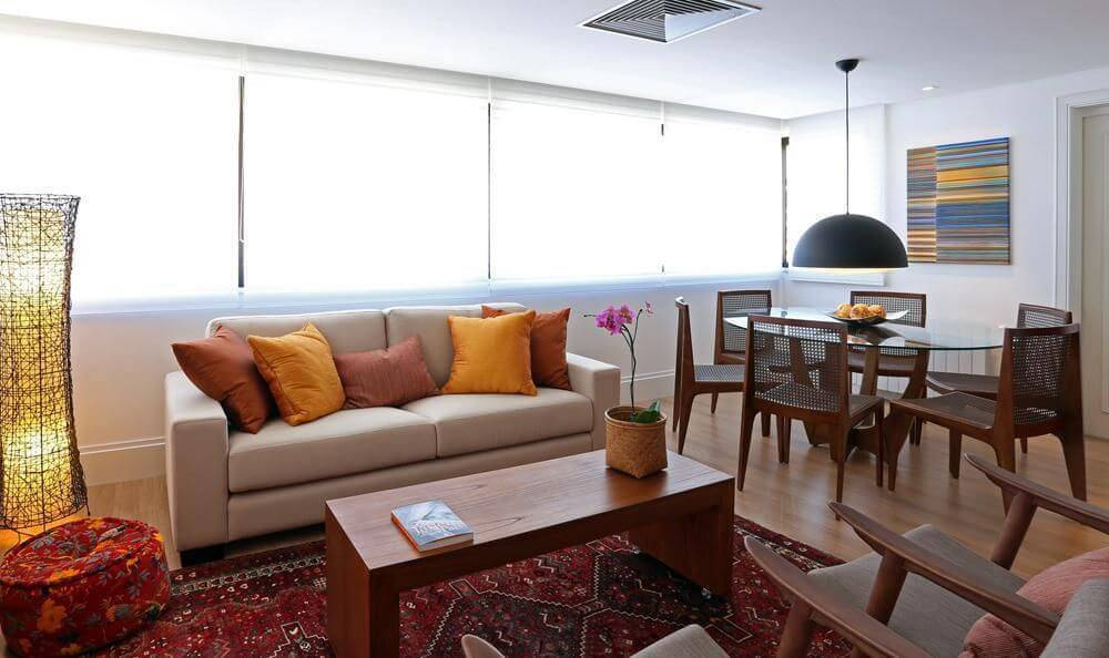 carpete de madeira sala de estar e jantar fernanda renner 25066