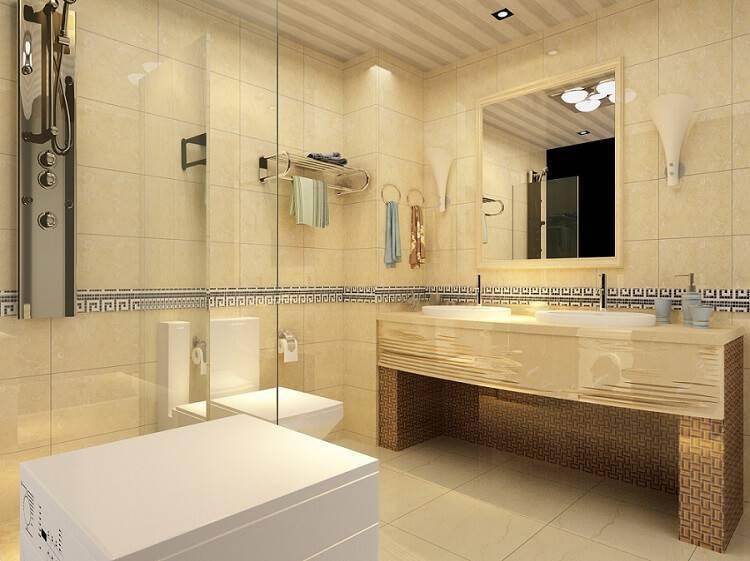 ceramica banheiro bege e inox