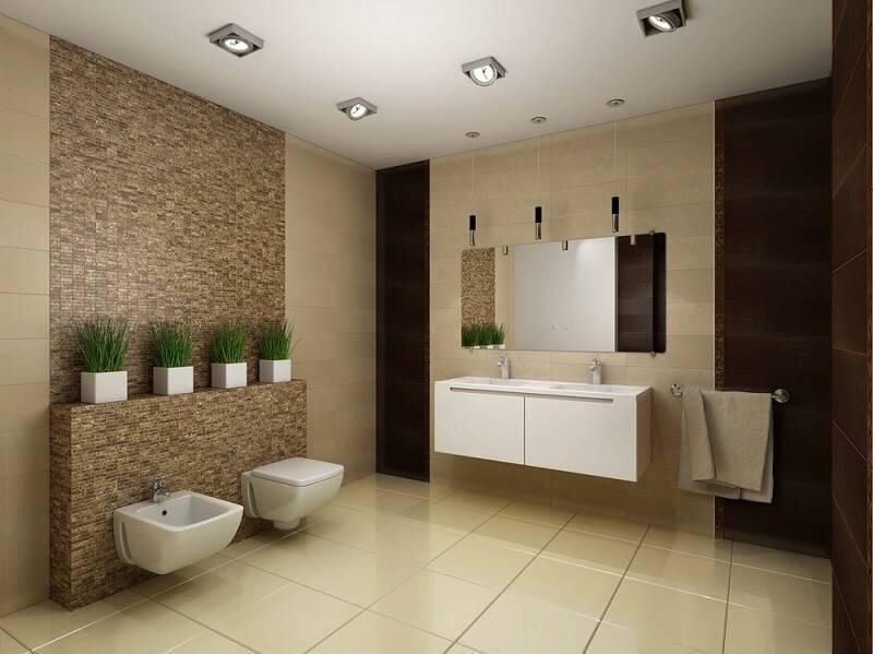 ceramica banheiro com vasinhos de planta