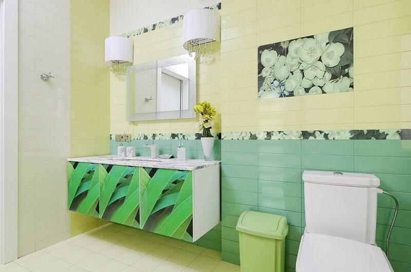 ceramica banheiro tropical com folhas