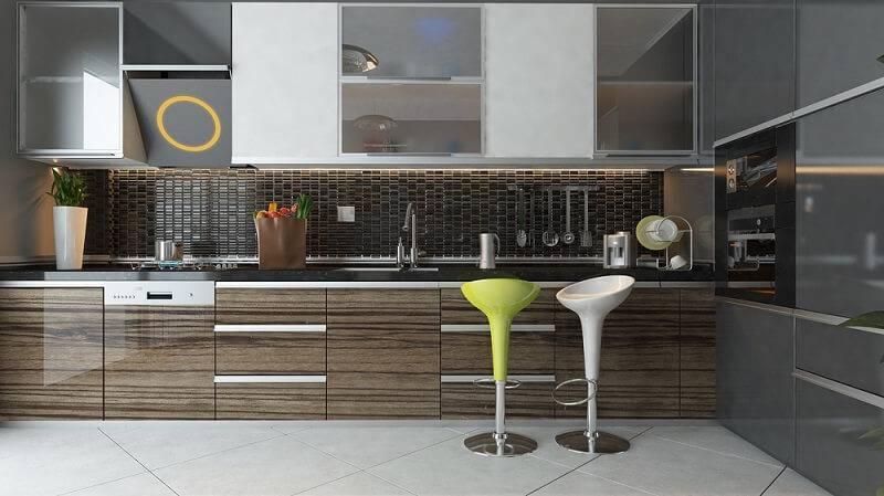 ceramica cozinha com banquetas