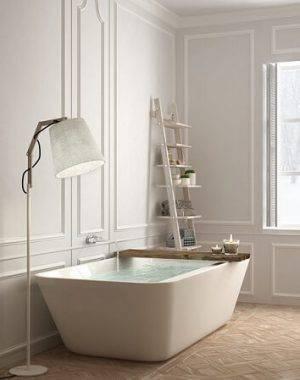 ceramica piso com detalhes madeira banheiro escandinavo