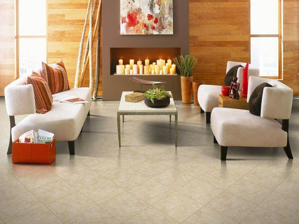 ceramica piso pequeno com lareira