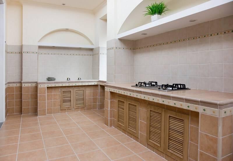 ceramica rustica cozinha ampla