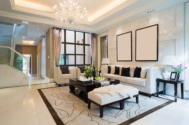 ceramica sala de estar com lustre